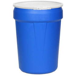 30 Gallon Blue Open Head Poly Drum with Plastic Lever-Lock Ring