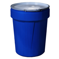 40 Gallon Blue Open Head Poly Drum with Metal Lever-Lock Ring
