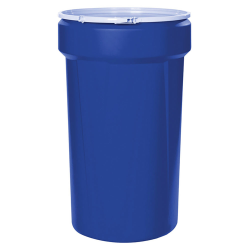 55 Gallon Blue Open Head Poly Drum with Plastic Lever-Lock Ring