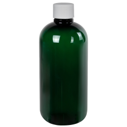 8 oz. Dark Green PET Traditional Boston Round Bottle with 24/410 Plain Cap with F217 Liner