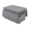 "27"" L x 17"" W x 12-1/2"" H OD Gray Akro-Mils® Attached Lid Container"