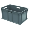 "16""L x 12""W x 8""H Akro-Mils® Straight Walled Gray Container w/Solid Sides & Base"