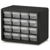 "16 Drawer Black Plastic Storage Cabinet 10-9/16"" L x 6-3/8"" W x 8-1/2"" H"