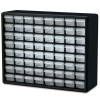 "64 Drawer Black Plastic Storage Cabinet 20"" L x 6-3/8"" W x 15-13/16"" H"