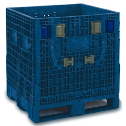 "BulkPak® 3230 KD Blue Collapsible Containers 32""L x 30""W x 34""H"