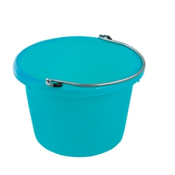 Teal Blue Molded Rubber-Polyethylene 8 Quart Pail
