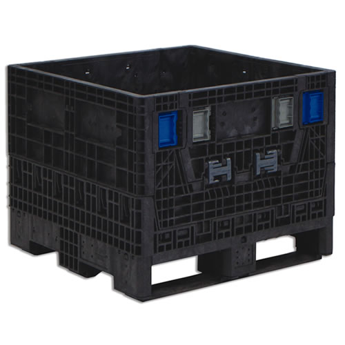 """BulkPak® 3230 KD Black Collapsible Containers 32""""L x 30""""W x 25""""H"""