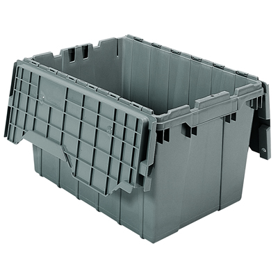 "21-1/2"" L x 15"" W x 12-1/2"" H OD Gray Akro-Mils® Attached Lid Container"
