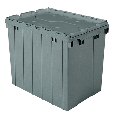 "21-1/2"" L x 15"" W x 17"" H OD Gray Akro-Mils® Attached Lid Container"