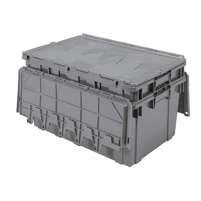 "Gray Akro-Mils® Attached Lid Container - 27"" L x 17"" W x 12-1/2"" H OD"