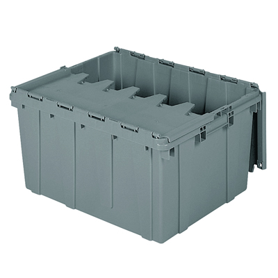 "24"" L x 19-1/2"" W x 12-1/2"" H OD Gray Akro-Mils® Attached Lid Container"