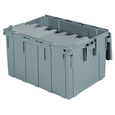 "28"" L x 21"" W x 15-1/2"" H OD Gray Akro-Mils® Attached Lid Container"