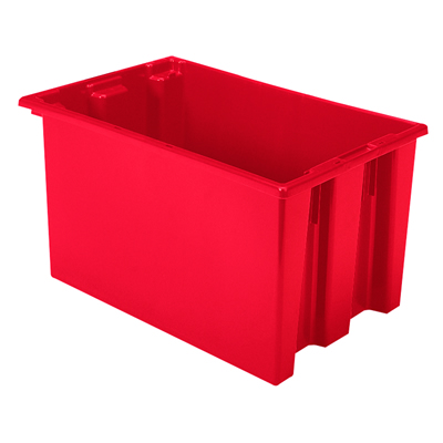 "23-1/2"" L x 15-1/2"" W x 12"" Hgt. Red Akro-Mils® Nest & Stack Container"