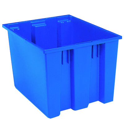 "19-1/2"" x 15-1/2""W x 13""H Blue Akro-Mils® Nest & Stack Container"