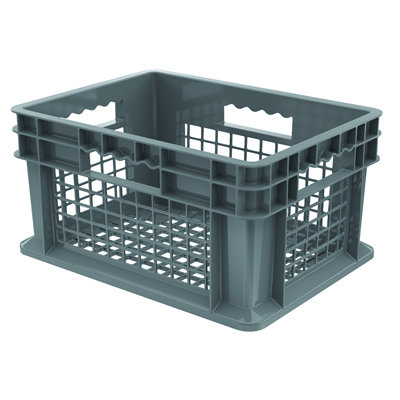 "16""L x 12""W x 8""H Akro-Mils® Straight Walled Gray Container w/Mesh Sides & Base"