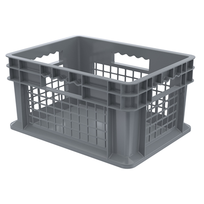 "16""L x 12""W x 8""H Akro-Mils® Straight Walled Gray Container w/Mesh Sides & Solid Base"