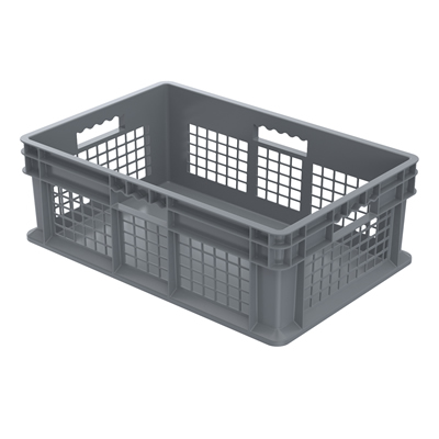 """24"""" L x 16"""" W x 8"""" Hgt. Akro-Mils® Straight Walled Gray Container w/Mesh Sides & Solid Base"""
