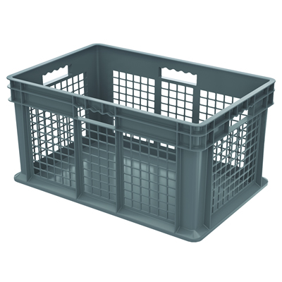 """24""""L x 16W x 12""""H Akro-Mils® Straight Walled Gray Container w/Mesh Sides & Solid Base"""