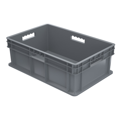 "24"" L x 16"" W x 8"" Hgt. Akro-Mils® Straight Walled Gray Container w/Solid Sides & Base"