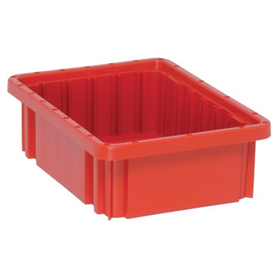 """Red Dividable Grid Container - 10-7/8"""" L x 8-1/4"""" W x 3-1/2"""" Hgt."""