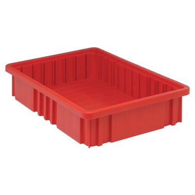 """Red Dividable Grid Container - 16-1/2"""" L x 10-7/8"""" W x 3-1/2"""" Hgt."""