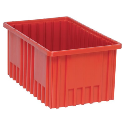 """Red Dividable Grid Container - 16-1/2"""" L x 10-7/8"""" W x 8"""" Hgt."""