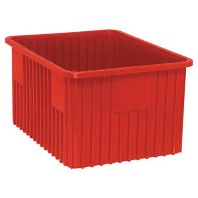 """Red Diviadable Grid Container - 22-1/2"""" L x 17-1/2"""" W x 12"""" Hgt."""