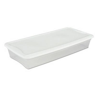 Sterilite® 41 Quart Basic Clear Storage Box with White Lid