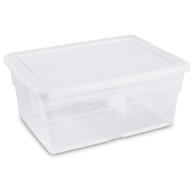 Sterilite® 16 Quart Basic Clear Storage Box with White Lid