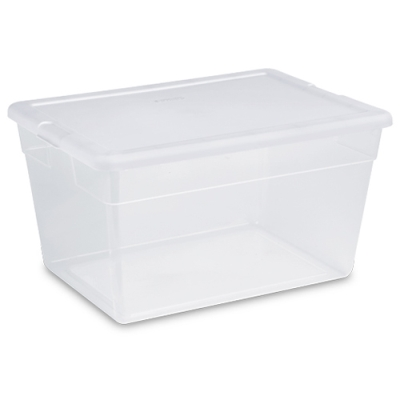 Sterilite® 56 Quart Basic Clear Storage Box with White Lid