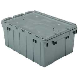 "21-1/2"" L x 15"" W x 9"" H OD Gray Akro-Mils® Attached Lid Container"