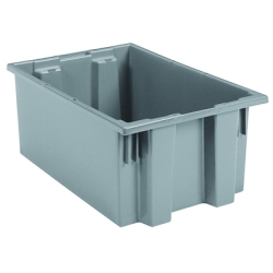 "19-1/2"" L x 15-1/2"" W x 10"" Hgt. Gray Akro-Mils® Nest & Stack Container"