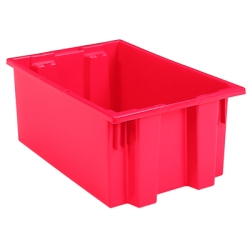 "19-1/2"" L x 15-1/2"" W x 10"" Hgt. Red Akro-Mils® Nest & Stack Container"