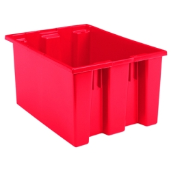 "23-1/2"" L x 19-1/2"" W x 13"" Hgt. Red Akro-Mils® Nest & Stack Container"