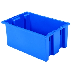 "19-1/2"" L x 13-1/2"" W x 8"" Hgt. Blue Akro-Mils® Nest & Stack Container"