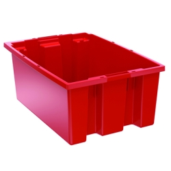 "19-1/2"" L x 13-1/2"" W x 8"" Hgt. Red Akro-Mils® Nest & Stack Container"