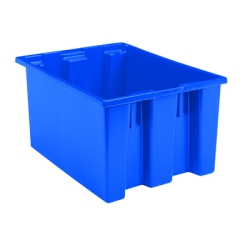 "23-1/2"" L x 19-1/2"" W x 10"" Hgt. Blue Akro-Mils® Polyethylene Nest & Stack Container"