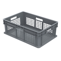 "24"" L x 16"" W x 8"" Hgt. Akro-Mils® Straight Walled Gray Container w/Mesh Sides & Solid Base"