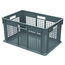 "24"" L x 16"" W x 12"" Hgt. Akro-Mils® Straight Walled Gray Container w/Mesh Sides & Solid Base"