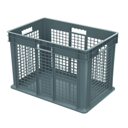 "24"" L x 16"" W x 16"" Hgt. Akro-Mils® Straight Walled Gray Container w/Mesh Sides & Solid Base"