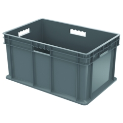 "16"" L x 12"" W x 8"" Hgt. Akro-Mils® Straight Walled Gray Container w/Solid Sides & Base"
