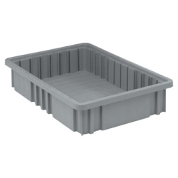 "16-1/2""L x 10-7/8""W x 3-1/2""H Gray Dividable Grid Container"