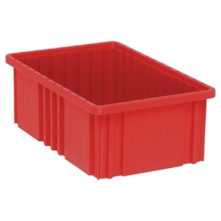 "16-1/2""L x 10-7/8""W x 6""H Red Dividable Grid Container"