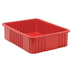 "22-1/2""L x 17-1/2""W x 6""H Red Dividable Grid Container"