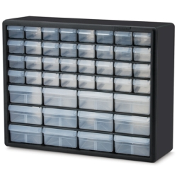 "44 Drawer Black Plastic Storage Cabinet 20"" L x 6-3/8"" W x 15-13/16"" H"