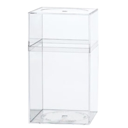 "Clear Plastic Box with Removable Lid 3-7/16"" L x 3-7/16"" W x 6-5/16"" Hgt."