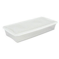 Sterilite® 41 Quart Basic Clear Storage Box with White Lid