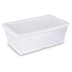 Sterilite® 6 Quart Basic Clear Storage Box with White Lid
