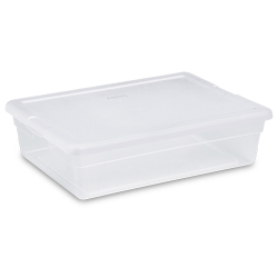 Sterilite® 28 Quart Basic Clear Storage Box with White Lid