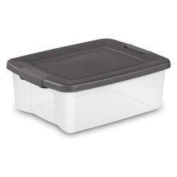 Sterilite ® 25 Quart Clear ShelfTote with Gray Lid - 19-7/8